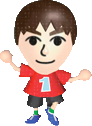 A player wearing a Mii mask